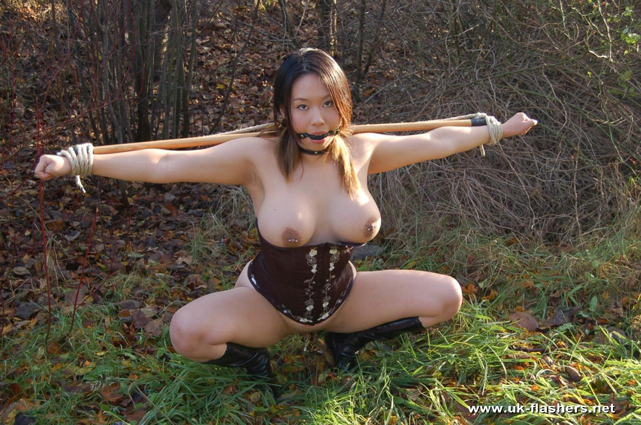 Women bondage nude outdoors