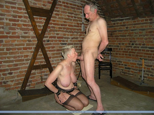Older Man Gets His Slave Girl Sucking