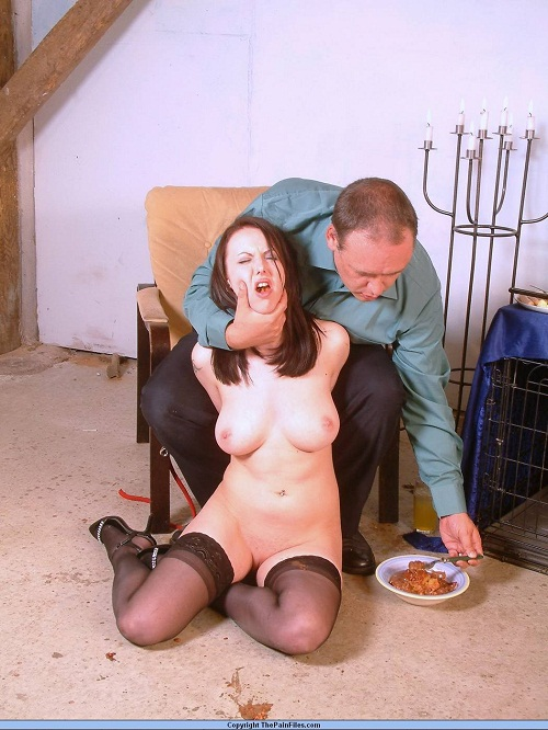 Bizarre Babe Forced To Eat Dinner