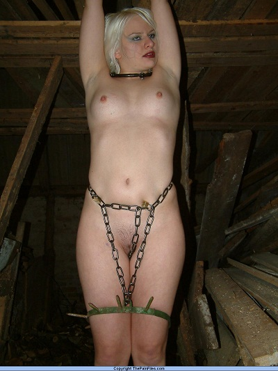 skinny blonde girl humiliated in barn