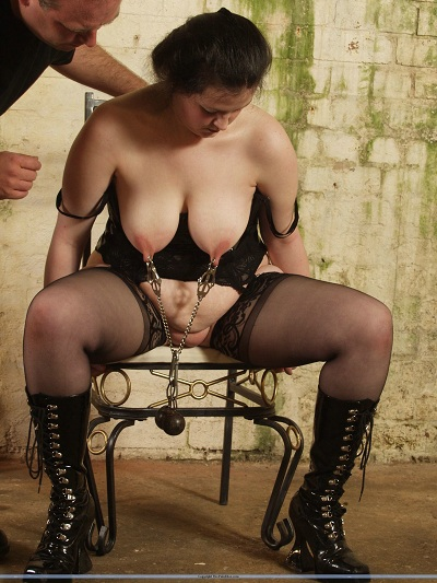 Tit and pussy torture for lingerie fetish